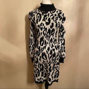 Who What Wear Turtleneck Dress Long Sleeve Leopard